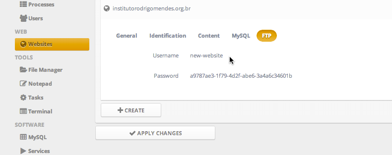 Change FTP username and password / General / Ajenti