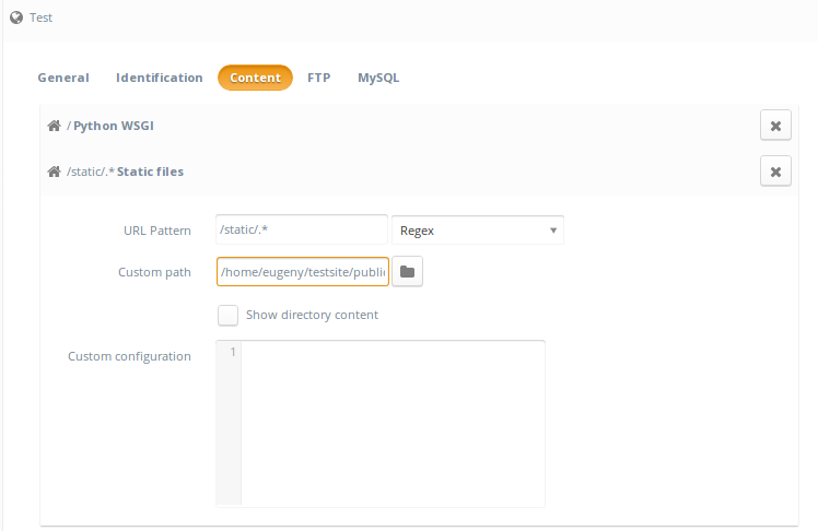 Setting up a Python website with Ajenti V (Django example